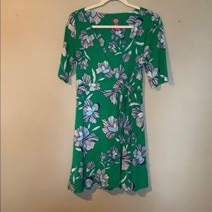 Green wrap floral dress.